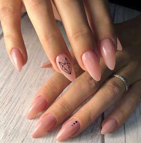Геометрические животные на нюдовых ногтях