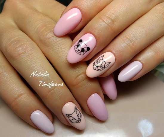 геометрические животные на розовых ногтях
