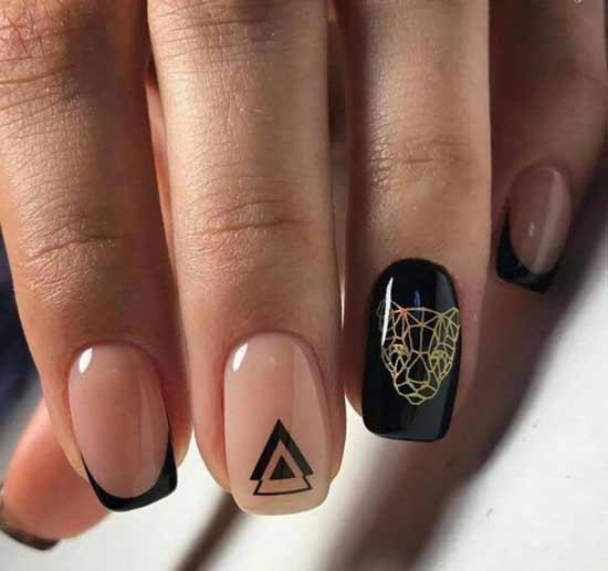 черный тигр на ногтях