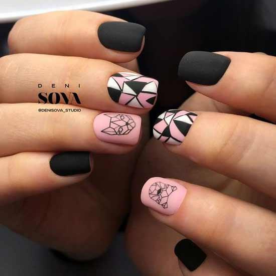 геометрические животные на черно- розовых ногтях