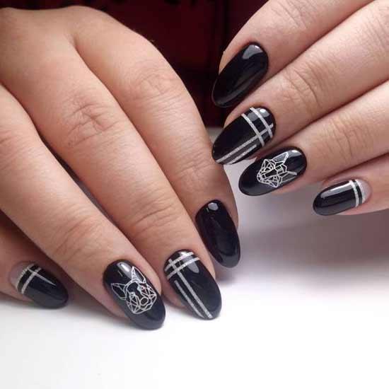 геометрические животные на черных ногтях