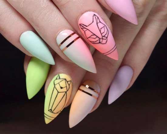 геометрия на разноцветных ногтях