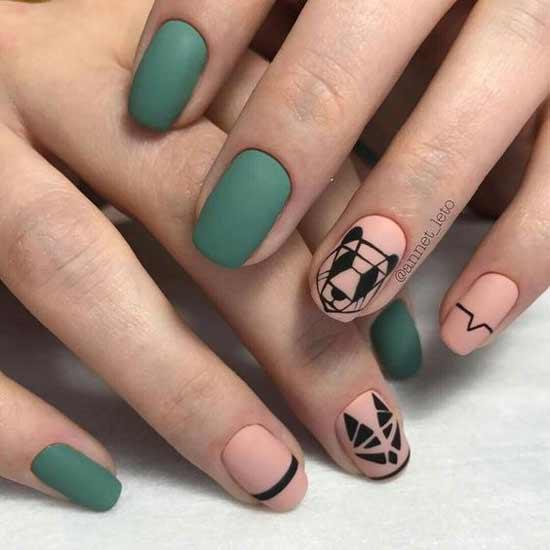 геометрическая панда на ногтях