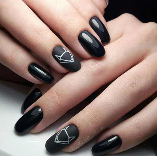 геометрическая лиса на черных ногтях
