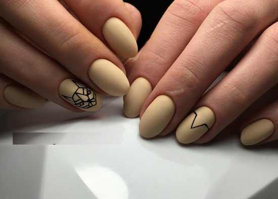 геометрическая собака на ногтях