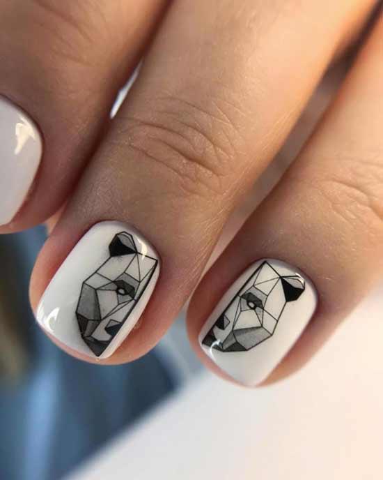 геометрический медведь на белых ногтях