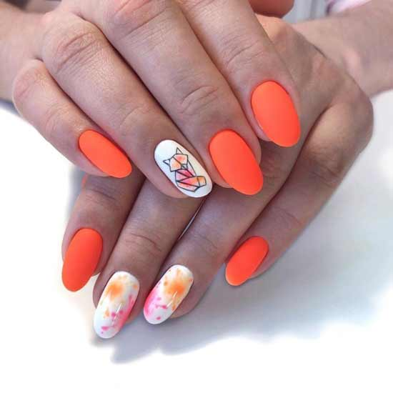 геометрическая лиса на ногтях