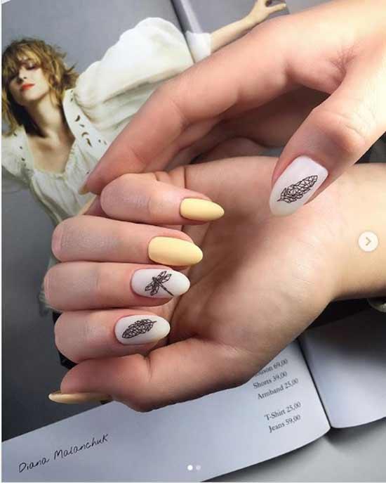 геометрическая стрекоза на ногтях