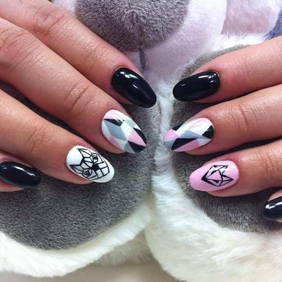геометрические животные на ногтях