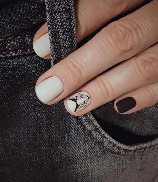 геометрическая лиса на белых ногтях