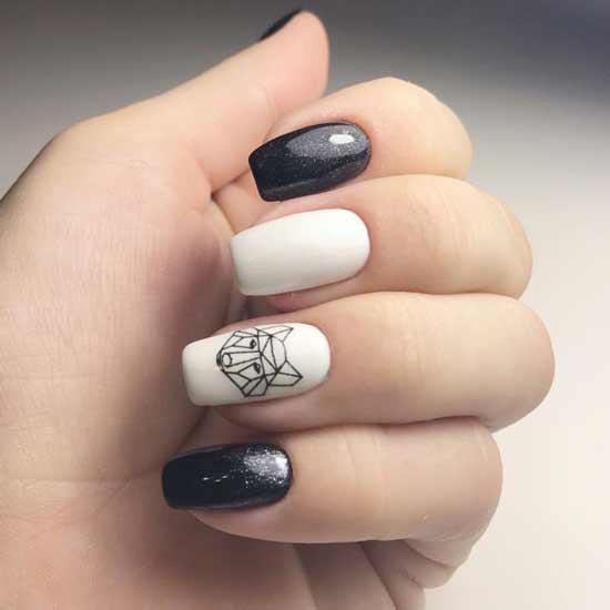 белая лиса на черно белых ногтях
