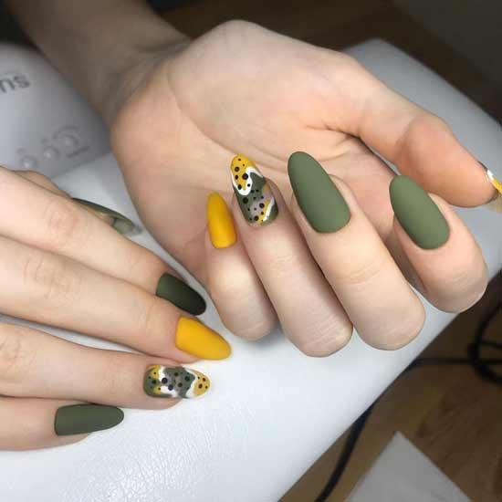 цвет хаки на ногтях