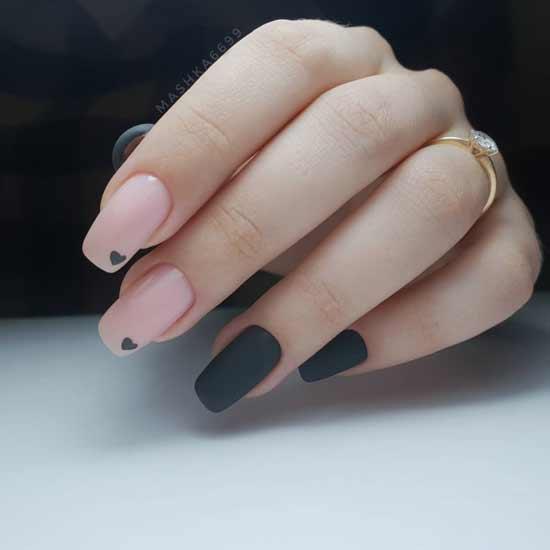 маникюр с сердечками на ногтях