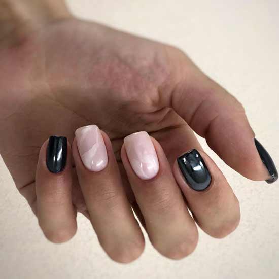 мраморный маникюр на черно-белых ногтях
