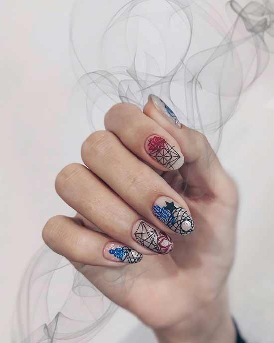 маникюр в стиле стемпинг на ногтях