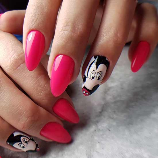 маникюр с микки маусом на ногтях