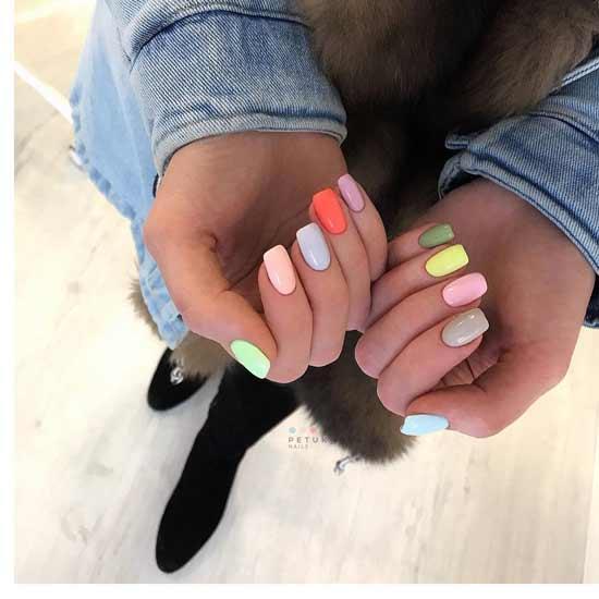 разноцветный маникюр ногтях