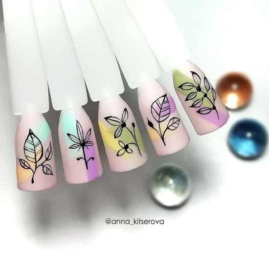 цветочный орнамент на ногтях