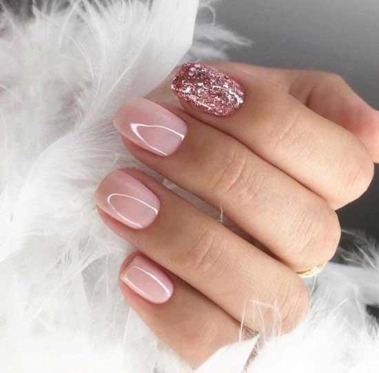 маникюр розовый с блестками