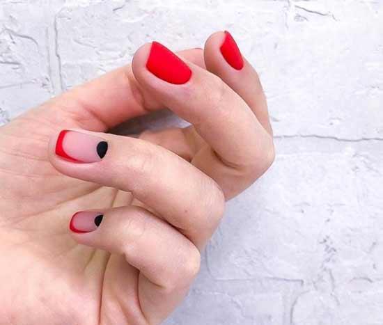 Яркий френч короткие ногти