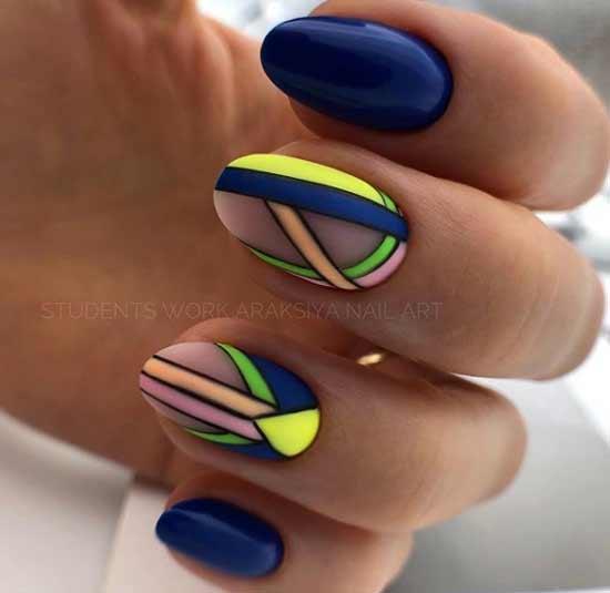 Летний неон на короткие ногти