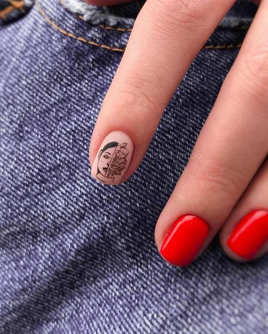 красный короткие ногти