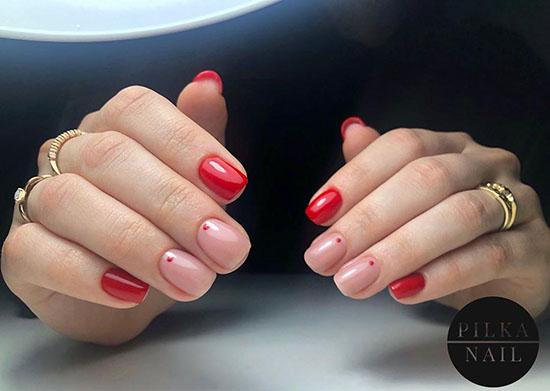 Модный красный маникюр на короткие ногти 2021: лучшие фото-новинки