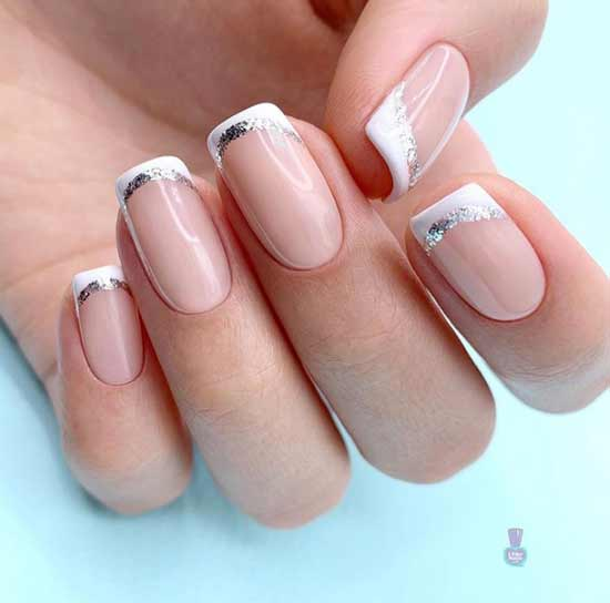 Блестящий френч с блестками короткие ногти