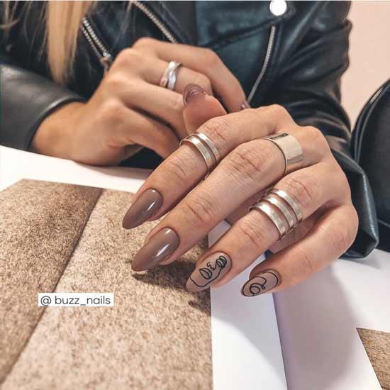 модный маникюр с лицами на ногтях