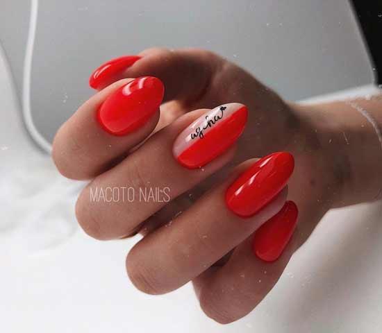 модный красный маникюр на ногтях
