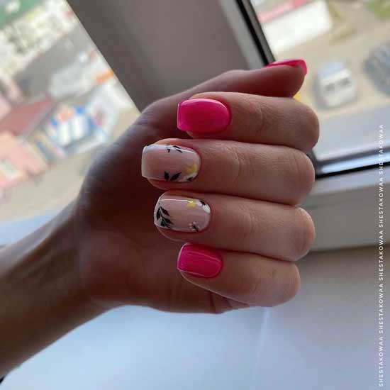 яркий неоновый маникюр на ногтях