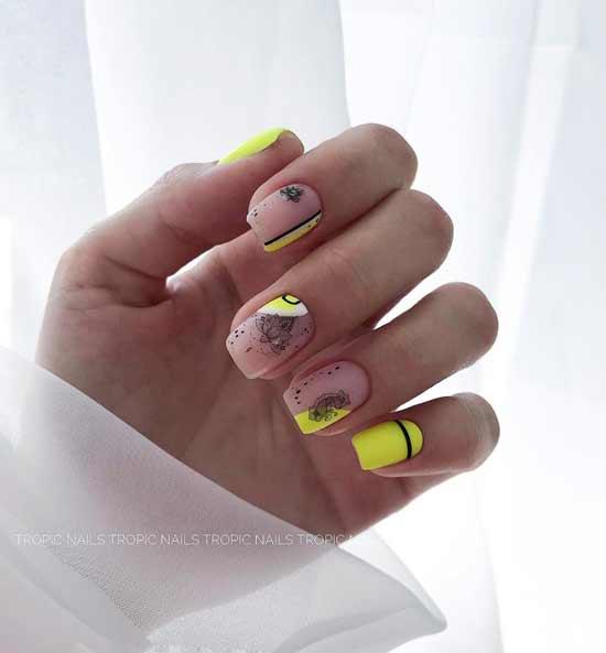 красивый яркий маникюр на ногтях