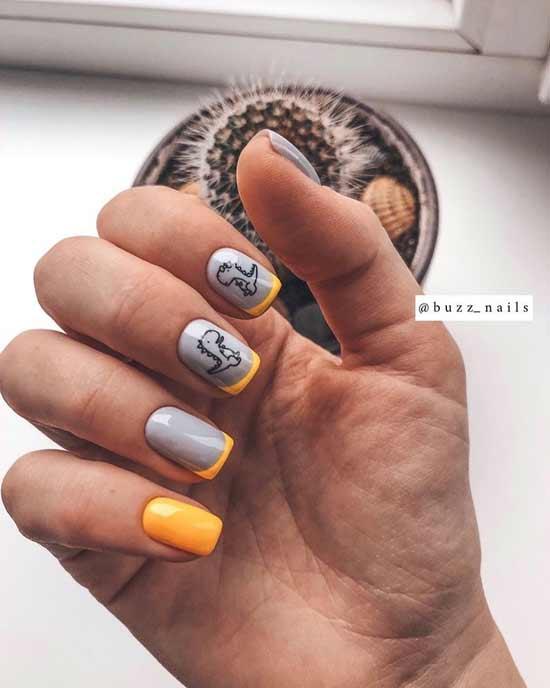 модный френч на ногтях