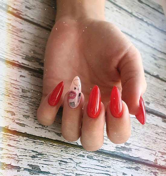стильный красный маникюр на ногтях