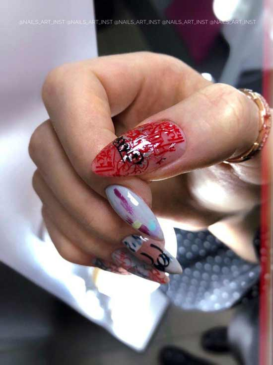стемпинг маникюр на ногтях