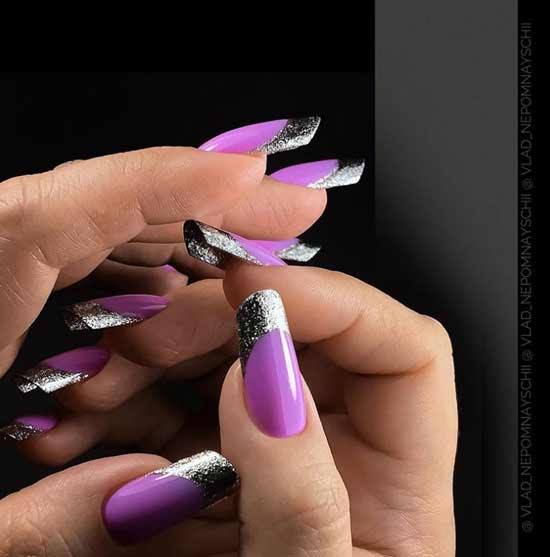 Фиолетовый с серебром френч