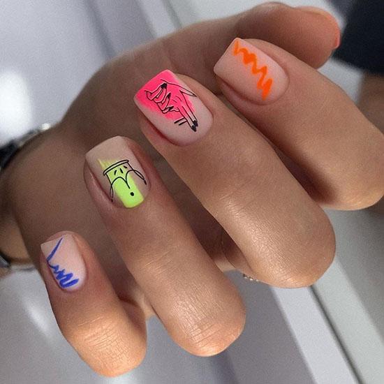 Неоновый маникюр 2021: 100 лучших летних идей дизайна ногтей