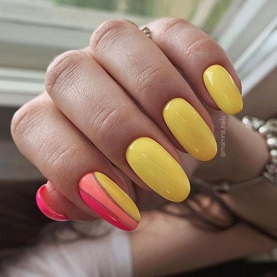 Яркий маникюр на длинные ногти: 100 фото, яркий дизайн ногтей