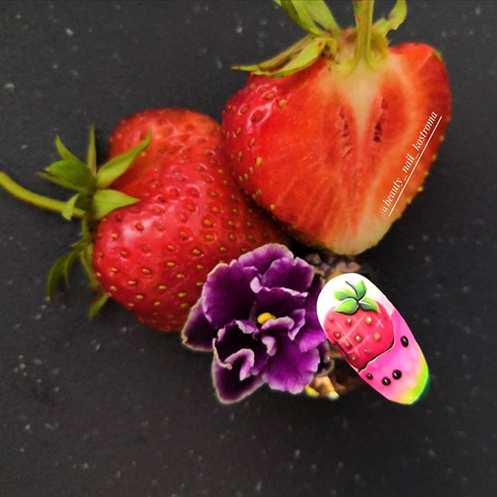 Маникюр с фруктами: 100 красочных идей современного нейл-арта