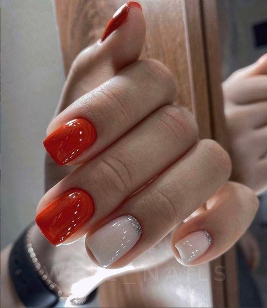 красные ногти с дизайном