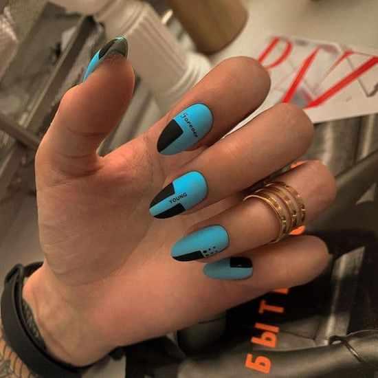 Голубой маникюр 2021: 100 фото, новинки красивого дизайна ногтей