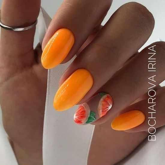 Оранжевый маникюр 2021: фото, модные тренды и дизайны