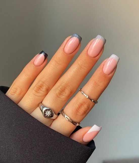 осенний френч форма ногтей квадрат